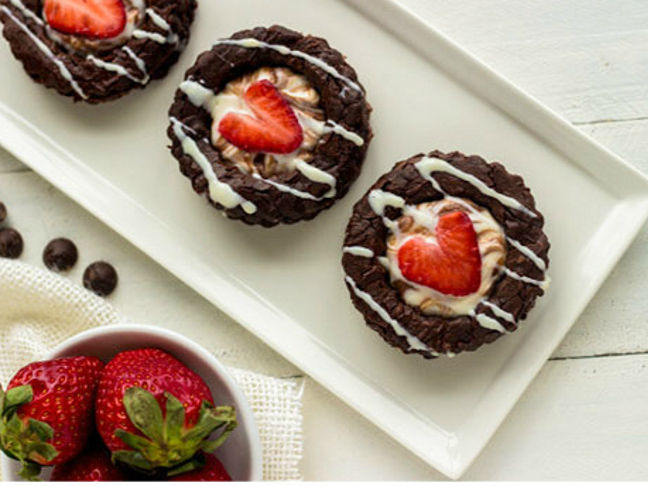 Gluten-Free Brownie Sandwiches with Strawberry Cheesecake Filling
