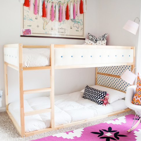 Sophisticated and Sweet Upholstered Bunk Bed from Ashley Rachelle Design & Interiors