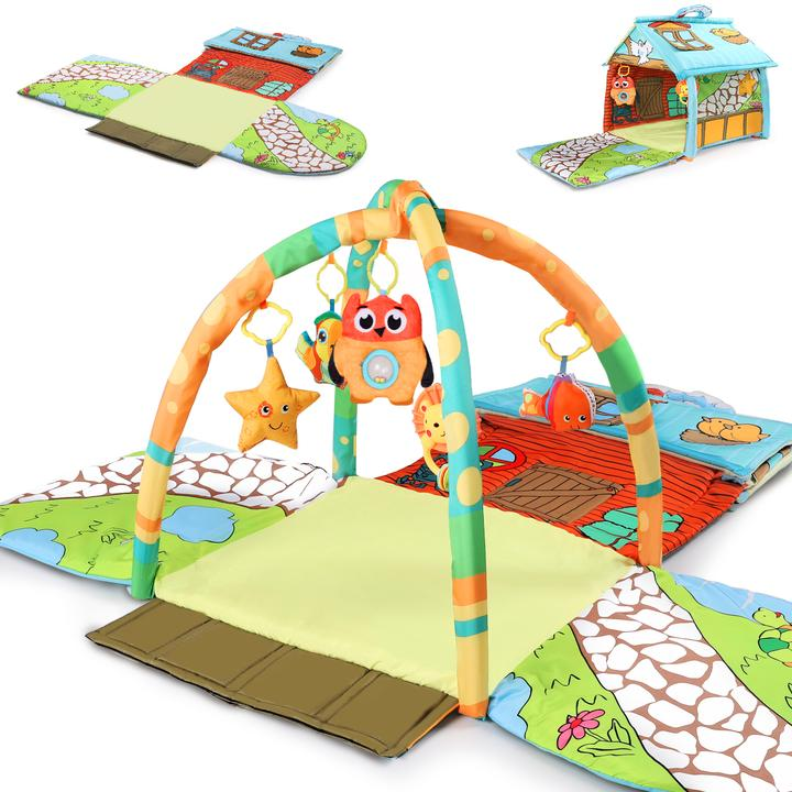 iPlay iLearn Baby Activity Gym Mat Infant Indoor Playmat Hanging Rattle Toys