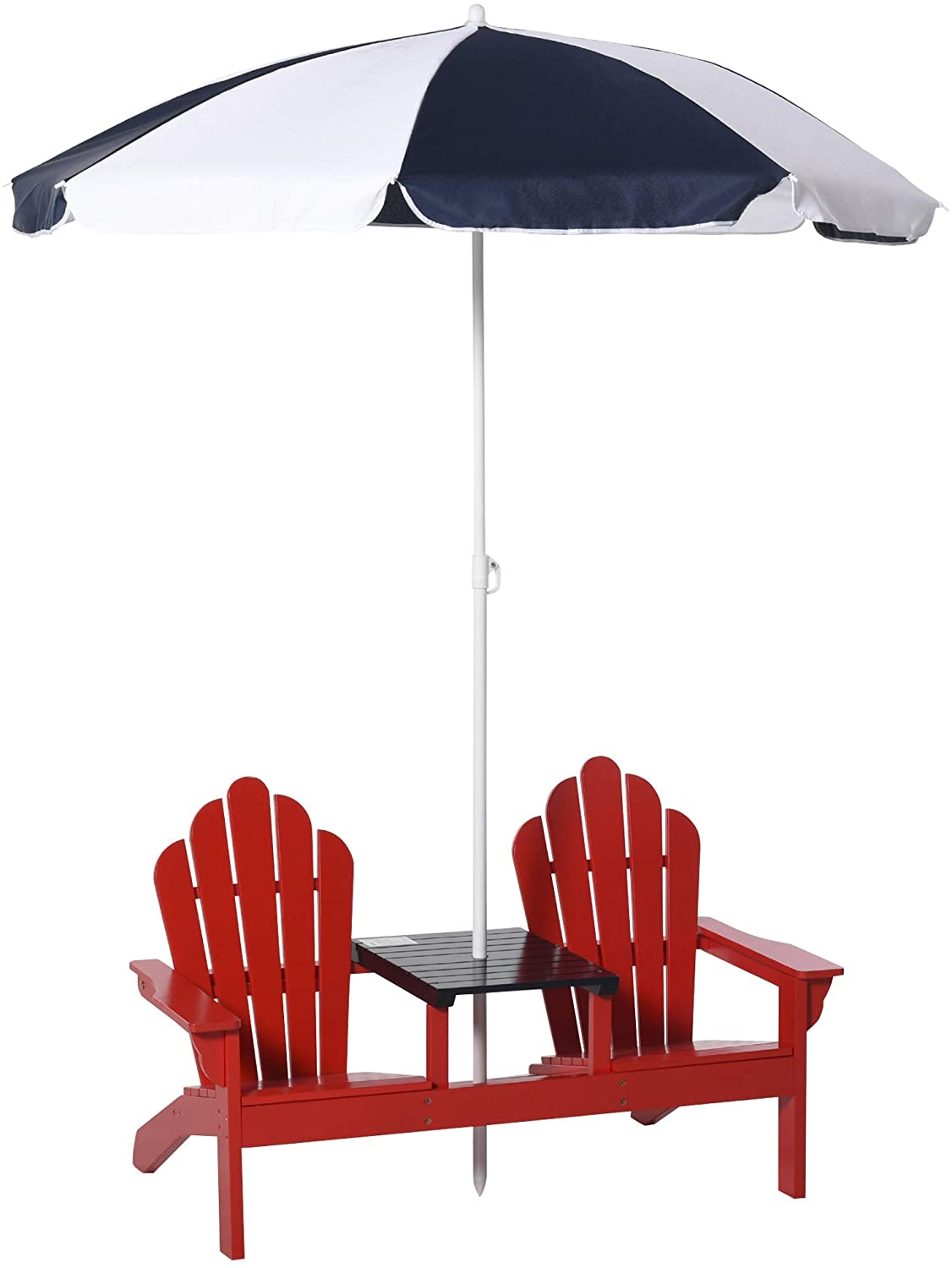 Outsunny Kids Double Adirondack Chair Table Set with Removable Umbrella