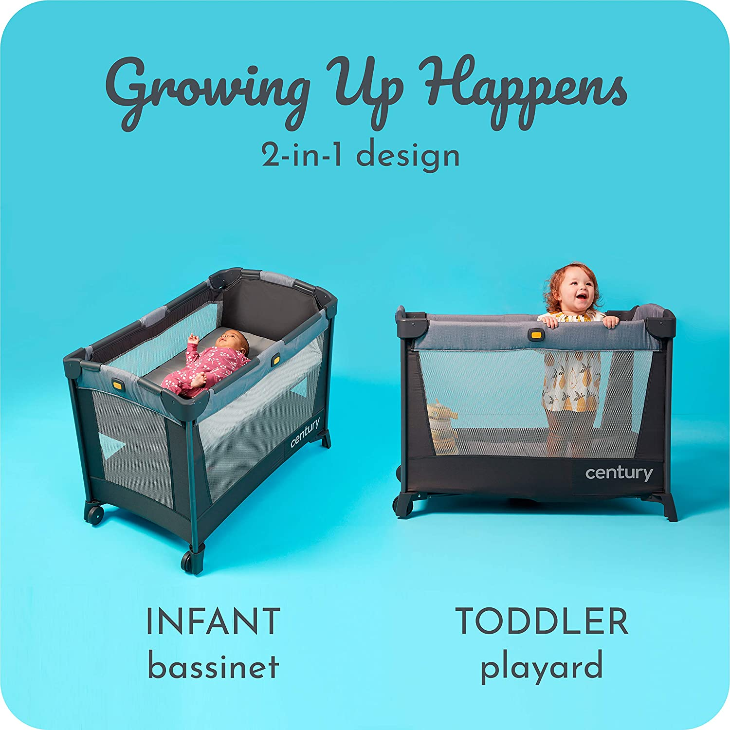 Century Travel On 2-in-1 Compact Playard with Bassinet