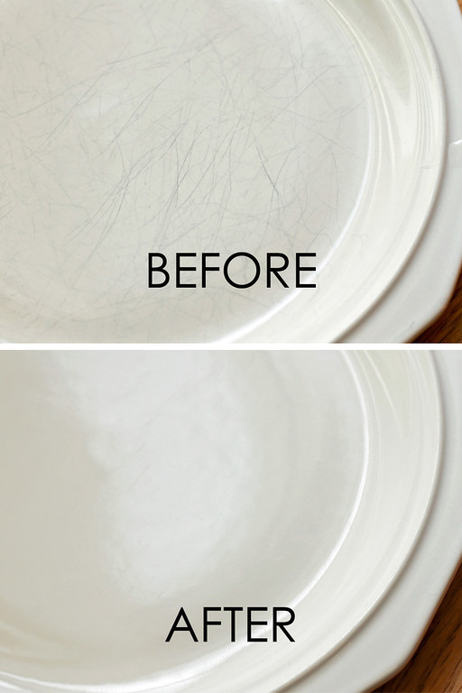 Erase scratches from dishes